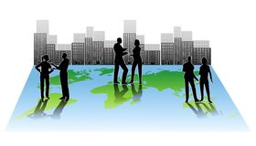 globalt folk för stadssamarbete Royaltyfri Bild