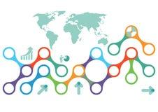 Globalt informationsdiagram Fotografering för Bildbyråer