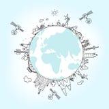Globalt informationsnätverk på jordklotet, vektorillustration Royaltyfri Bild