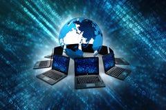 Globalt internetbegrepp, jordklot med datornätet vektor illustrationer