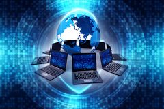 Globalt internetbegrepp, jordklot med datornätet stock illustrationer