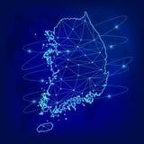 Globalt logistiknätverksbegrepp Kommunikationsnätverksöversikt av Sydkorea på världsbakgrunden Översikt av Sydkorea med Royaltyfri Fotografi