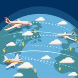 Globalt logistiskt begrepp för flyg, tecknad filmstil Arkivfoton