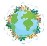 Globalt loppbegrepp - gullig design royaltyfri illustrationer