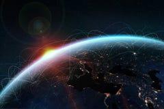 globalt nätverk En bild från utrymmet av planetjorden royaltyfri foto
