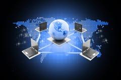 globalt nätverk för datorbegrepp Royaltyfri Fotografi
