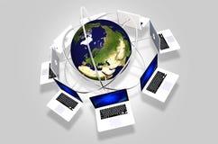 Globalt nätverk för datorer royaltyfri illustrationer