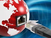 Globalt nätverk med en nätverkshålighet på jordklotet Arkivfoton