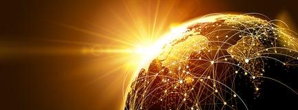 Globalt nätverk med soluppgång vektor illustrationer