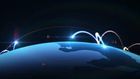 Globalt nätverk, världskartaanimering royaltyfri illustrationer