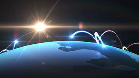 Globalt nätverk, världskartaanimering stock illustrationer