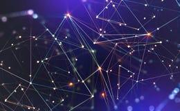 Globalt nerv- n?tverk Kommunikationsteknologi av framtiden Stort databegrepp royaltyfri illustrationer