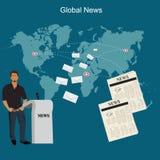 Globalt nyheternabegrepp, lägenhetstil, vektorillustration, mall Arkivfoton