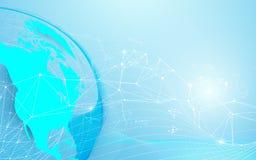 Globalt och världskarta med linjer och trianglar, punktförbindande nätverk på blå bakgrund stock illustrationer