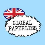 Globalt Paperless för ordhandstiltext Affärsidé för att gå för teknologimetoder som email i stället för papper royaltyfri illustrationer