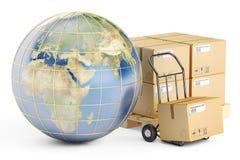 Globalt sändnings- och leveransbegrepp, jordlottkartonger royaltyfri illustrationer