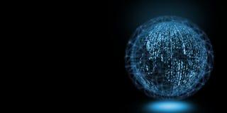 Globalt stort databegrepp Jordklot som skapas från glödande binärt noll och en text med att omge för trådingrepp royaltyfri illustrationer