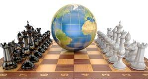 Globalt taktisk och strategibegrepp, världsjordklot med schackpajen stock illustrationer
