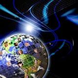 Globalt världsomspännande nätverk av folk Arkivbild