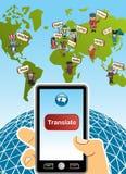 Globalt översättningsapp-begrepp Royaltyfria Foton