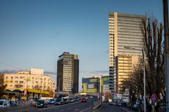 Globalworth Tower and Pipera road in Bucharest. The Globalworth Tower and other office buildings on the Pipera road in Bucharest, Romania Stock Images