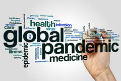 Globam pandemic word cloud. Global pandemic word cloud concept on grey background Royalty Free Stock Images