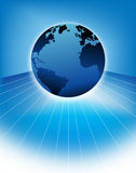 Blue earth illustration. Blue earth illustrated with white lines with copy space Royalty Free Stock Photos