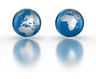 Globe. Isolated on white fading reflection Stock Photography