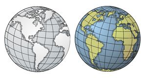 Globe. Vector illustration of two globes Stock Photography