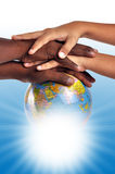 Globe. Protection - human hands on globe Royalty Free Stock Photo