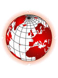 Globe. With red color rays in white background eps Royalty Free Stock Photography
