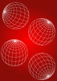 Globe. Out line in red background eps Royalty Free Stock Image