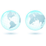 Globe. Glass west and east hemisphere of the globe Stock Image