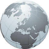 Globe. Hand drawn  globe with Africa, Europe, Asia and North America Stock Image