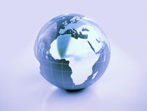Globe. A glassy globe with metal continents africa and europe Royalty Free Stock Image