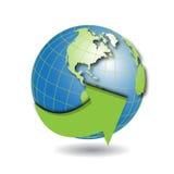 Globe. Illustration insulated globe with green arrow around Royalty Free Stock Photo