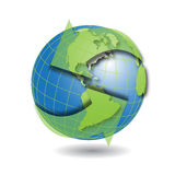 Globe. Illustration insulated globe with green arrow around Royalty Free Stock Images