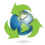 Globe. Illustration insulated globe with green arrow around Royalty Free Stock Image