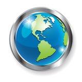 Globe. Illustration, glass globe in metallic ring on white background Stock Photos