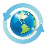 Globe. Abstract illustration blue round arrows around globe Royalty Free Stock Image