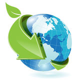 Globe. Abstract illustration green round arrows around globe Stock Images