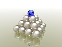 Globe. Blue globe on white pearls Stock Photo
