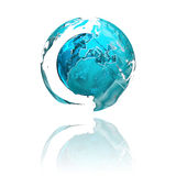 Globe. An abstractly illustrated globe with a mirror effect Stock Illustration