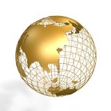 Globe. Golden globe of asia on frame over white background Royalty Free Stock Photos