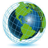 Globe. Illustration, transparent blue globe on white background Stock Images