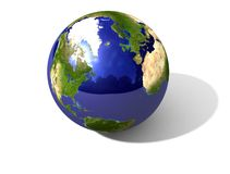 Globe. An earth globe with shadow and reflections vector illustration