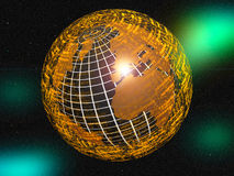 Globe. Gold firewalled globe on space background Stock Photography