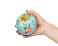 Globe. In hand, isolated on white Stock Images