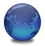 Globe 2. Shiny blue globe created in Photoshop. White background with drop shaddow Royalty Free Illustration