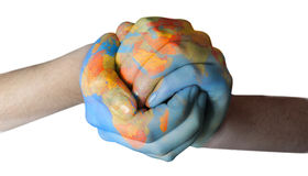 Globe. Closed hands painted with globe Royalty Free Stock Image